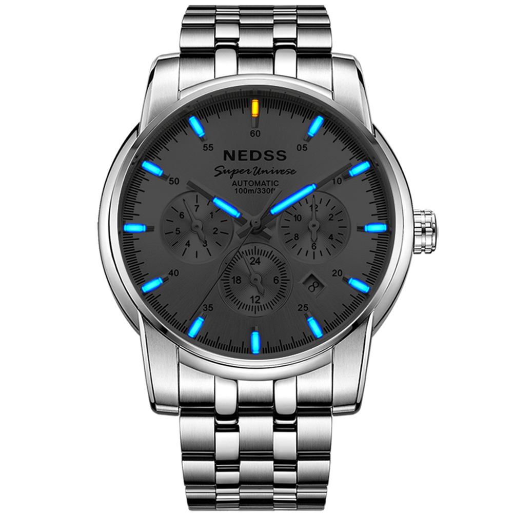 Luxury brand watch NEDSS Mechanical Wristwatches Tritium watch Mens Watches Stainless Steel Luminous week month 100m Waterproof