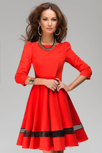 2017  Summer Dress  Fashion Sexy  Long Sleeve Red Dresses Clothes High quality women Solid Pattern Dress Plus Size S-2XL