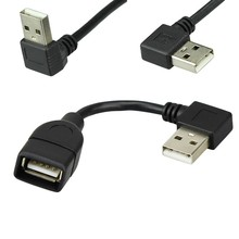 10cm 20cm 40cm USB 2.0 A Male to Female 90 Angled Extension Adapter cable USB2.0 M/F right/left/down/up Black cable cord