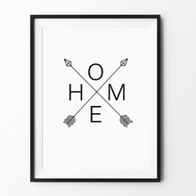 Home Arrow Print Sign Scandinavian Arrows Poster Black Home Watercolor Graphic wall art prints Modern design decor canvas art(China)