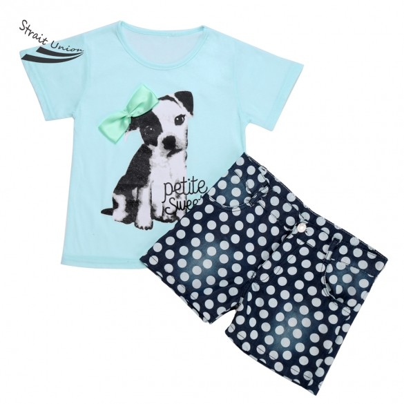 NEW girls 2pcs Summer clothes set kids clothes polk dot top short casual suit Baby Summer suits Free Shipping<br><br>Aliexpress