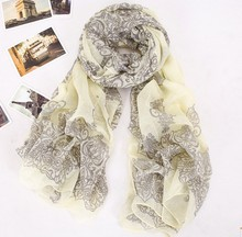 180cm*90cm Ultra Large Scarf Women Winter Scarf Porcelain Floral Scarves Printed Paris Yarn Winter Accessories(China)