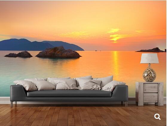 Custom natural landscape wallpaper,Sunrise over the sea,3D photo mural for living room backdrop bedroom kitchen papel de parede<br>