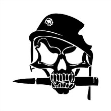 14.8*15CM Army Skull Bullet In Military Helmet With Shot Hole Vinyl Car Sticker Motorcycle Decal xin-535(China)