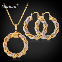 Starlord Two Tone Gold Color Chain Round Jewelry Set Fashion Unique Hoop Earrings Pendant Necklace Set For Women Gift PE683(China)