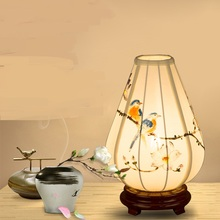 Chinese style desk lamp bedroom bedside solid wood cloth hand-painted lantern model room study entrance table lamp ZA92150(China)