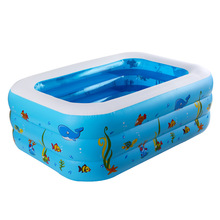 iEndyCn Baby Swimming Pool Three Layers Inflatable Square Green PVC Swimming Pool GXY173