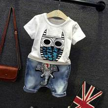 Fashion summ Children Kids boy's Cartoon owl short sleeve T-shirt+ Elephant avatar denim shorts  2pcs Clothing Sets Suits S4831