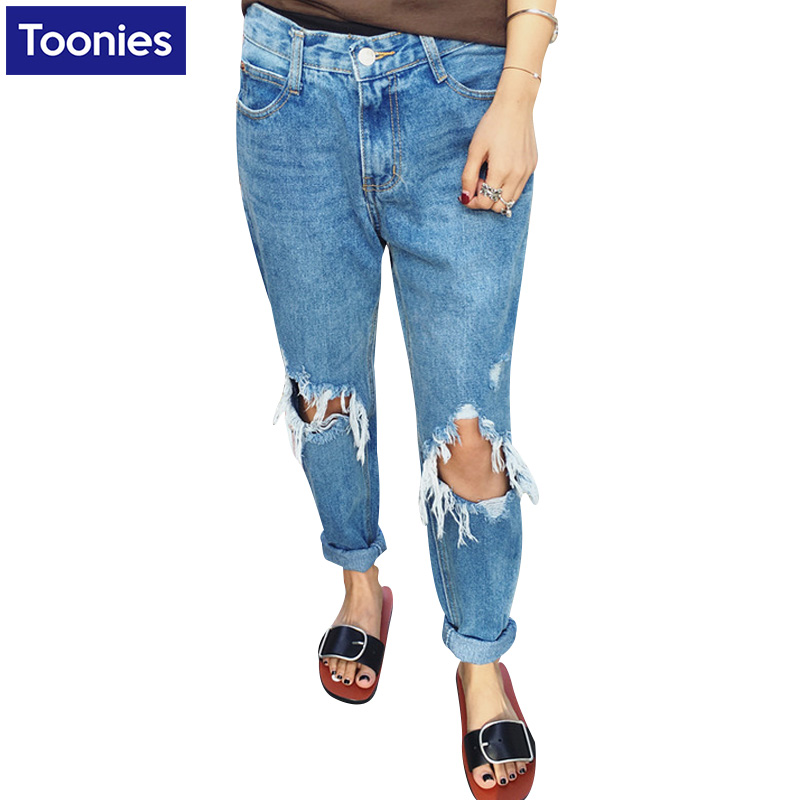 For 2017 New Women Fashion Hole Jeans Three Quarter Length Pants Bottom Loose Solid Color Female New Korean Denim Fashion JeansОдежда и ак�е��уары<br><br><br>Aliexpress