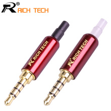 Buy 3PCS R Connector Jack 3.5mm Plug Audio Jack 4Pole Gold-plated Earphone Adapter DIY Stereo Headset Earphone/Repair Earphone for $5.69 in AliExpress store