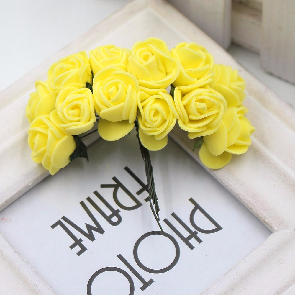 12pcs/lot New Hot 2cm Head Multicolor PE Foam Mini Flower Artificial Rose Flowers Bouquet wedding decorative flowers wreaths 21