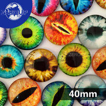 5pcs/lot 40mm round glass dome cabochon eyes mixed pattern fit cameo base setting for jewelry embellishment flatback
