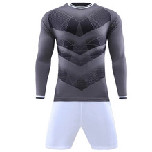 Men soccer jersey sets survetement football 2017 kit sports Long sleeve jerseys uniforms shirts shorts suit DIY drawing printing(China)