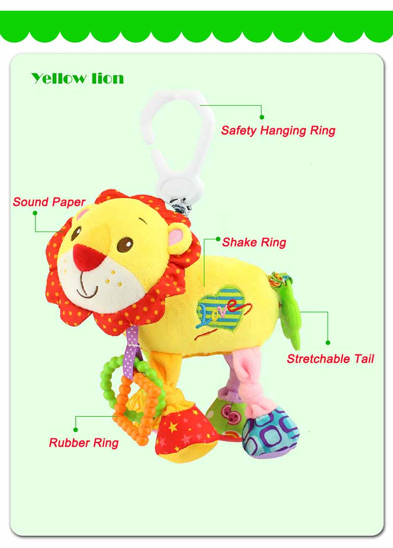 35*22CM Musical Cute Rattles Bed Crib Stroller Kids Stuffed Doll Vibrator Dog Hand Bell Shake RingToy With Teether D012 21