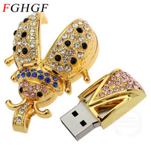 FGHGF Crystal Beetle Usb flash drive usb 2.0 pen drive memory stick pendrives usb stick 4GB 8GB 16GB 32GB free shipping(China)