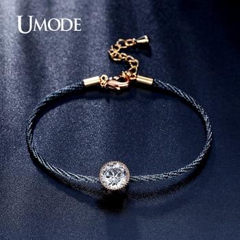 Umode nuevo sencillo 1.5ct solitario cz cristal plateado del oro cuerda cadena pulseras para las mujeres pulseira feminina ub0088