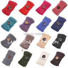 DHL/EMS Free Shipping 20pcs/lot Fashion Wooden Buttons Women Headband Knit Winter Headwrap Ear Warmer Hairband(China)