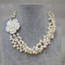 FREE SHIPPING TOP SELLING 100% natural chunky white fresh water pearl flower shell necklace bridal jewelry PURE HANDWORKING MADE
