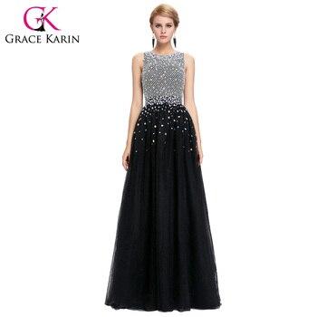 Grace karin balón vestido de tul con lentejuelas vestido de noche 2017 sleeveles vestido formal con cristales listones espalda abierta baile vestidos largos