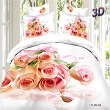 Home Textiles 100% Cotton 3D Bedclothes 4pcs Bedding Sets  King Or Queen Pink Rose