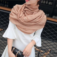 Women Cotton Linen Scarf Muslim Hijab Muffler Casual Long Plain Scarves Shawl Stole 20 Candy Colors For Choose(China)