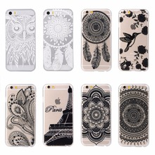 For iPhone 4 4s Hard PC Phone Case PARIS Tower Owl Bird Mandala Flowers Design Plastic Hard PC Phone Cover Skin For iPhone 4 4s(China)