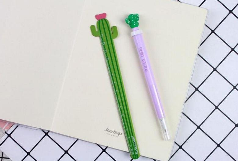 15 cm Fresh Gift Student Measuring  Wooden Cactus Stationery Ruler Stationery