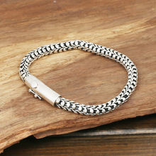 S925 wholesale silver jewelry Mens handmade in Thailand silver buckle 6m Dragonscale simple Bracelet