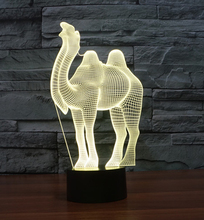 Cartoon Camel 3D Illusion LED Night Light 7 Colors Dimming Table Lamp Christmas For Children Kids Bedroom Lamp Holiday Lighting(China)