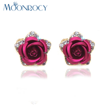 MOONROCY Free Shipping Fashion Jewelry Rose Gold Color Crystal For Women Flowers Imitation Pearl Red Purple Blue Earrings