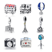 NBSAMENG Authentic Sterling Silver 925 Original Charm Fit Pandora Bracelet Diy Travel Camera Eiffel Colosseum Tower Charms Beads