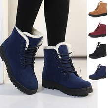 Snow boots 2017 fashion warm ankle boots women winter shoes plus size 35-44