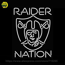 Raider Nation Neon Sign Decorate Real Glass Tube Neon Bulbs Recreation Store Indoor Metal Frame Huge Sign Store Display 31x24(China)