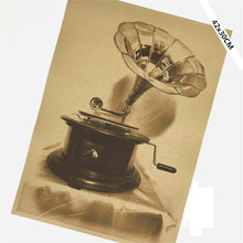 Classic Vintage Old Phonograph Gramophone Poster Retro Kraft Paper Cafe Home Decor Wall Sticker 42x30cm