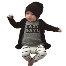 New 2017 Fashion Cotton Infant Clothing Set Long-sleeved  LAZY DAYS Top+Pants 2 Pcs/Suit Newborn Toddler Baby Boy Girl Clothes