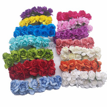 12Pcs/lot 2CM Head Multicolor Paper Artificial Flowers Mini Rose Flower Head Wedding Bouquet Scrapbooking Party Decoration 9Z