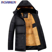 NORMEN Brand Clothing Men's Casual Jacket Long Style Shiny Fabric Fleece Winter Jacket Men Fashion Plus Size Hooded Men Jacket