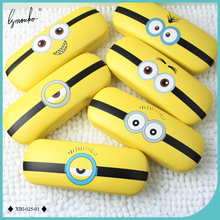 Lymouko New Design Yellow Cut Cartoon Patterns Printing PU Leather Glasses Case Optical EyeWear Metal Box For Gift