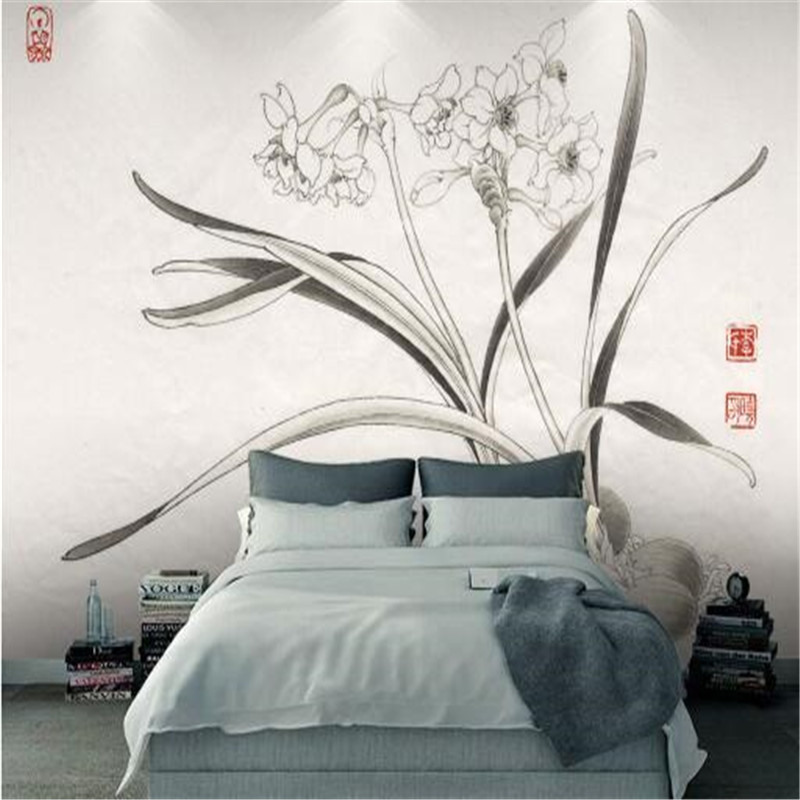 Chinese Vintage Wall Paper Home Decor High Quality Non-Woven Wallpapers Gray Vintage Orchid Wallpapers For Living Room<br>
