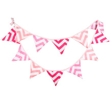 1pcs 3.3M 12 Flags Pink Wave Baby Birthday Deco Flag Banner Children Room Wall Decoration Outdoor Wedding Shooting Pennant