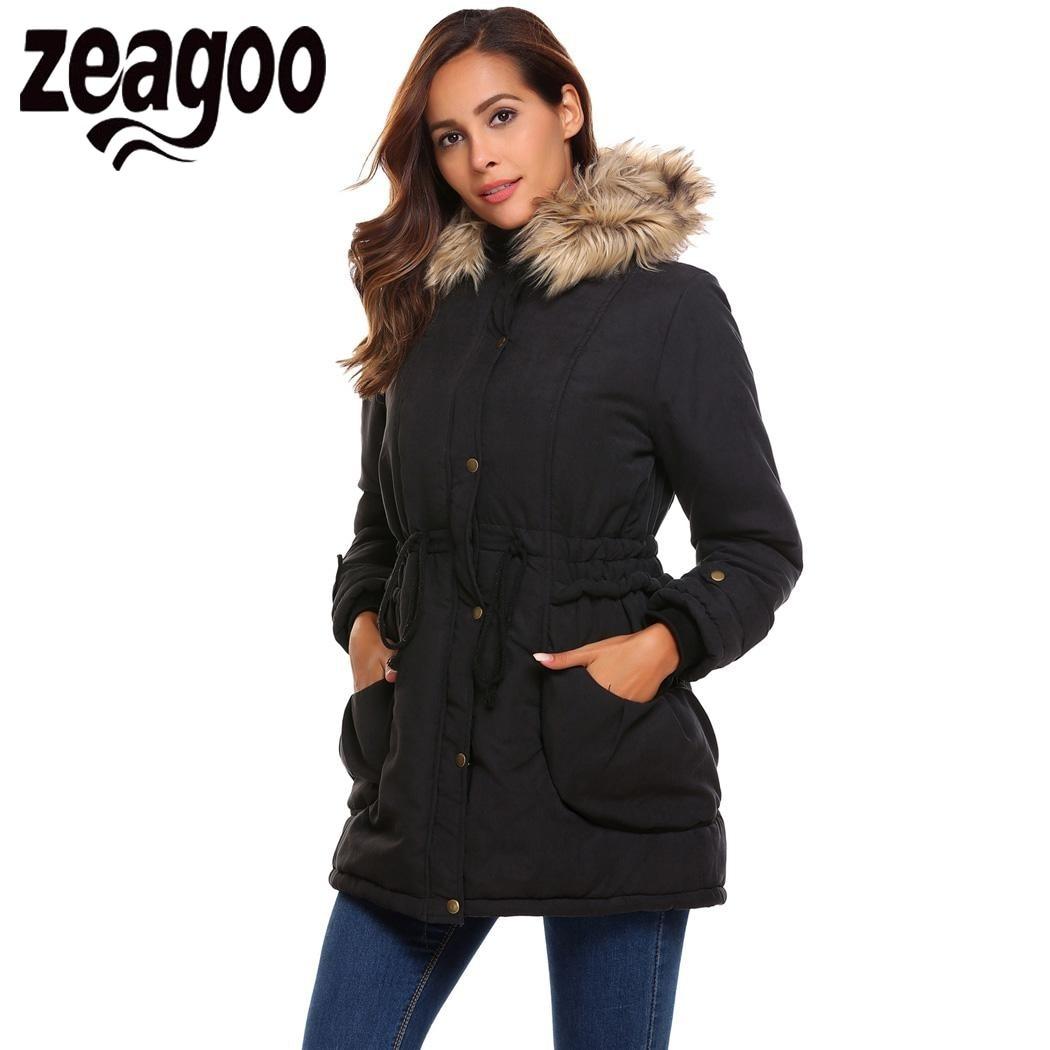 Zeagoo 2017 Winter Jacket Coat Women Hooded Long Sleeve Solid Zip-up Slim Anorak Parka Women Winter Coat Jacket manteau femmeÎäåæäà è àêñåññóàðû<br><br>