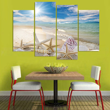 Art Pictures Framework Living Room HD Printed Painting 4 Panel Beautiful Sandy Beach Shells Home Decoration Posters Modern Wall(China)
