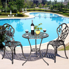 Goplus 1 Table + 2 Chairs Set Cast Aluminum Patio Furniture Tulip Design Bistro Set Antique Copper HW49512(China)