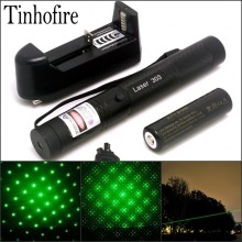 Tinhofire Laser 303 200mW Green Laser Pointer Adjustable Focal Length and with Star Pattern Filter+4000mah 18650 battery+charger