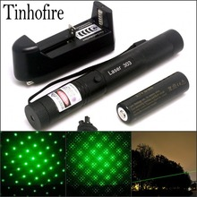 Tinhofire Laser 303 200mW Green Laser Pointer Adjustable Focal Length and with Star Pattern Filter+4000mah 18650 battery+charger(China)