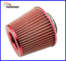 New RED Color Air Intake Filter / Car Vehicle High Flow Air Filter / Adapter Neck:76mm Universal For Honda VW BMW