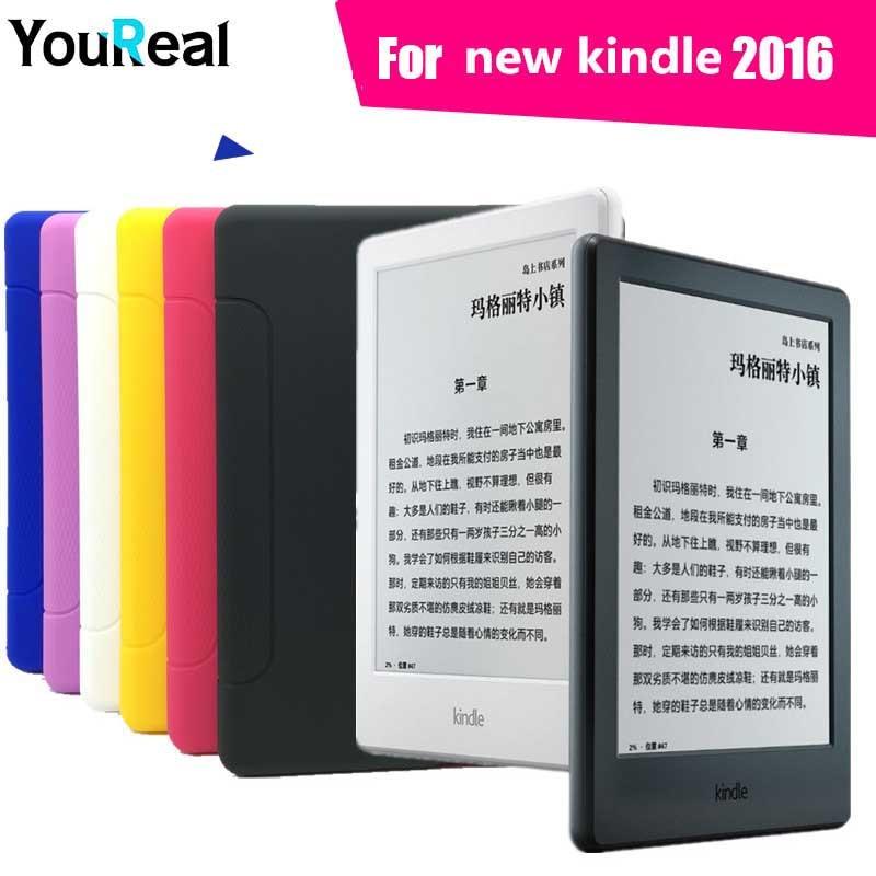 Silicon Back Cover Case For Amazon New Kindle 2016 Version E-books Coque Case For Fundas Kindle E-Book +HD Screen Film<br><br>Aliexpress