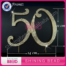 15 pcs/lot+50 Cake Topper GOLD - Golden Anniversary or Birthday Premium Rhinestone Cake Topper Decoration for Your party(China)