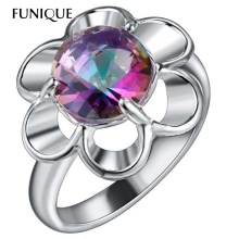 FUNIQUE 6ct Sunflower Blue Rainbow Mystic Ring Wedding Rings For Women Silver color Women Engagement Ring Gift