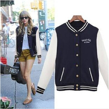 autumn new women's college baseball uniform jacket sweater coat